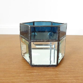Dark teal blue stained glass candle holder with mirrored bottom