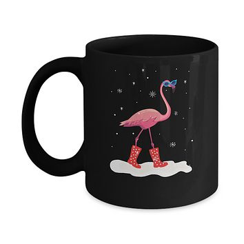 Flamingo With Rubber Boots Snow Mug