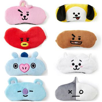 New KPOP BTS Bangtan Boys BT21 Eye Mask Cartoon TATA COOKY CHIMMY Travel Aircraft Sleep Shade Breathable Plush Eye Mask