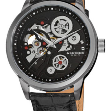 Akribos Manual Wind Skeleton Dial Black Leather Mens Watch AK538BK