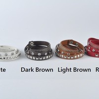 Vogue Rivets Rhinestones Decorated Three-Ring Leather Bracelet 4 Colors 1124