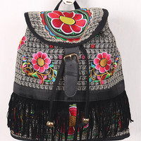 Bohemian Fringe Floral Embroidered Backpack