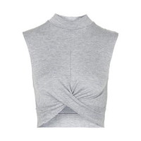 Twist Front Crop Top - Grey