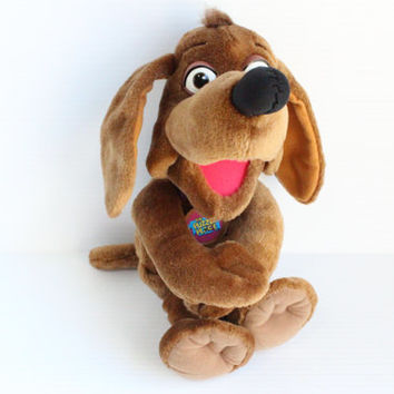 NUZZLE the DOG Stuffed Animal, The Puzzle place stuffed dog, Vintage stuffed toy, gift for child,vintage brown dog,vintage plush,collectible