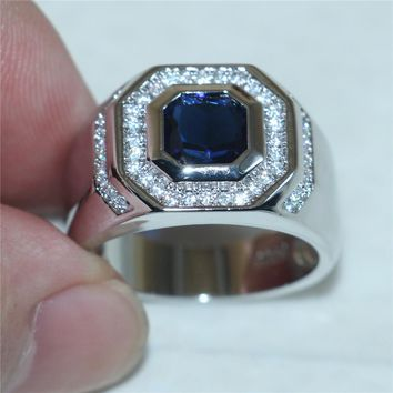choucong Jewelry Size 8,9,10,11,12,13 Men's Luxury  Silver Blue 5a Zircon Stone Rings Engagement Wedding Band ring boys