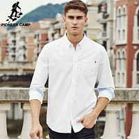 Pioneer Camp casual shirt men brand clothing 2017 new long sleeve slim fit solid male shirt quality 100% cotton white 666211