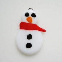 Snowman Fused Glass Ornament - Christmas Decoration  - Christmas Ornament - Glass Snowman - Winter Decor