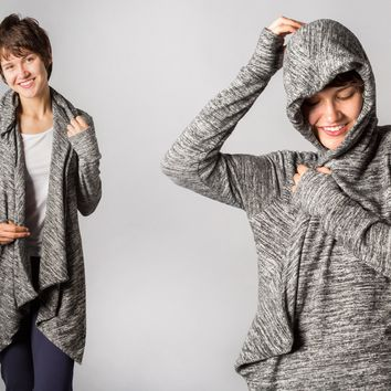 Red-Eye Wrap (Heathered) | Women's Travel Wrap-Cardigan With Built-In Eye Mask | Betabrand