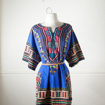 Vintage Mid Length Dashiki Top | Mini Dress 70s Tunic Top Boho Chic Festival Dress Ethnic Hippie Top African Print 70s Top Bohemian Shirt