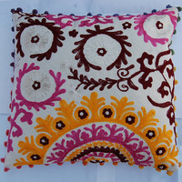 Embroidered Pillow cases Suzani cushion cover Uzbekistan style Hand Embroidery woolen thread Christmas gift Home decor Indian rangoli art