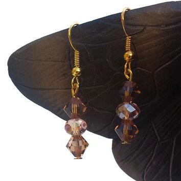 Brown Pink Handmade Bead Dangle Drop Earrings Jewelry Women Gifts Swarovski Crystal Beads Gifts for Women Gift for Her Boho Earrings Classic