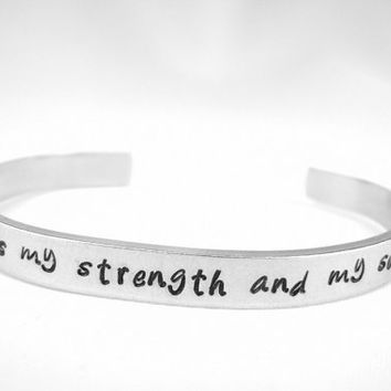 The Lord is my strength and my song Psalm 118:14 bible verse bracelet, scripture bracelet, hand stamped Christian jewelry, bible verse cuff
