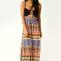 Naila Tribal Print Cut Out Front Detail Maxi Dress