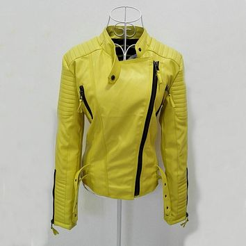 Women faux leather jacket jaquetas casacos de couro feminino long sleeve PU coat yellow big size XS XL motorcycle biker jacket