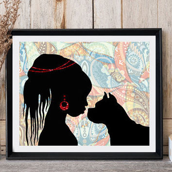 African art print African woman Dog print Ethnic decor Modern wall decor Woman with dog African artwork Ethnic art Afrocentric art Print it