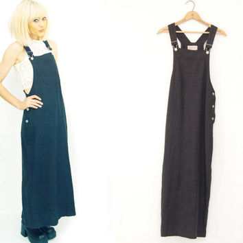 90s Black Linen Overall Maxi Dress /  Long / Bib / Dungarees / Dress /  1990s Grunge Small