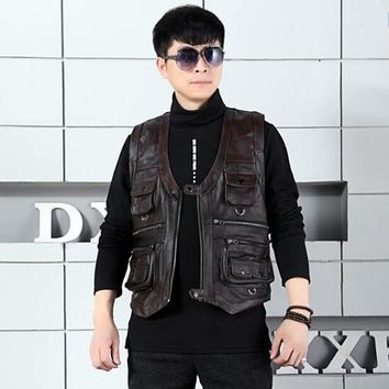 Brand Genuine Cow Leather Vest Mens Photography Vest With Many Pockets Brown Motorcycle Jacket Male Waistcoat