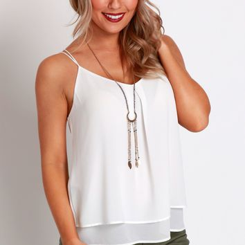 Strapped Pleat Tank Off White