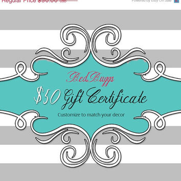 MOTHERS DAY SALE Mothers Day - BedBuggs 50 Dollar Gift Certificate Printable Gift Card Instant Download Choose Your Own Colors and Styles