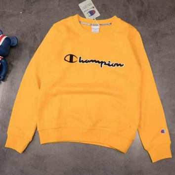 Champion autumn and winter tide brand chest classic letter printing men and women models round neck loose sweater yellow