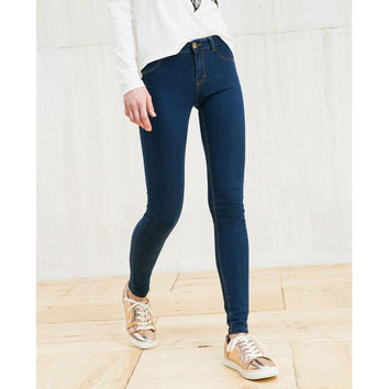 8907 Women Brief  Casual Slim Dark Blue Mid Waist Zipper Elastic Strech Classical Skinny Brand Jeans Mujer Plus Size Pants LAYS