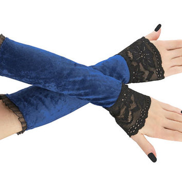 Blue and black long fingerless gloves, arm warmers  gothic, burlesque, vintage style, goth lace bridal gloves, womens evening gloves 2P