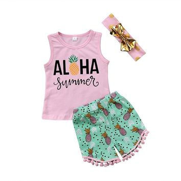 Baby Infant Toddler Kids Girls Tank Top Pants & Headband Set Floral Pineapple Aloha Hawaiian Tropical