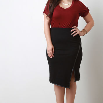 Asymmetrical Hem Vegan Leather Trim Slit Midi Skirt
