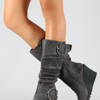 Pure-2 Slouchy Buckle Knee High Wedge Boot