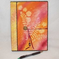 Composition Book Journal with Fabric Cover-Orange Maidenhair w Flowers