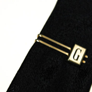 SWANK Tie Bar, Vintage Tie Clip, Monogram G Tie Clasp, Letter G Tie Clip, Mens Accessories, For Him,Vintage Jewelry,Small Tie Clip,Initial G
