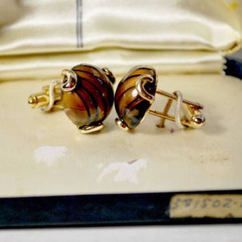 Kreisler Cuff Links with Eye of the Tiger Stone , Tuxedo and Wedding Suit , Prom Jewelry