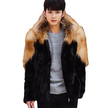 New 2017 Winter Men Hooded Patchwork Faux Mink Fur Coats Male Imitation Fox Fur Jackets Outerwear Plus Size 3XL 4XL W1073