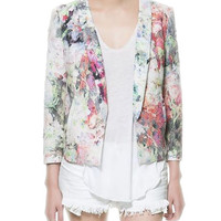 Embossed Floral Blazer With Zippers On Sleeves