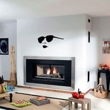 Wall Vinyl Decals Sticker People Fashion Girl Face with Sunglasses KJ1156
