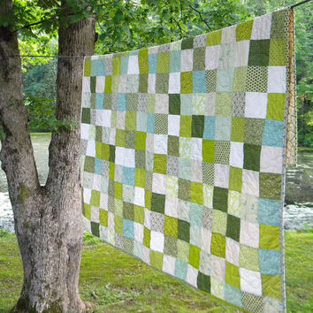 Patchwork quilt--picnic size--Spring Green --81 X 81--blanket--