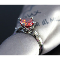 """""""Black Satin"""" Red Sapphire Solitaire Ring"""