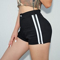 Women Fashion Side Multicolor Stripe Stretch Leisure Pants Shorts High Waist Yoga Pants
