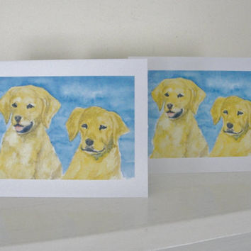 Golden Retrievers Dog Art Blank All Occasion Cards Yellow Dogs and Blue Water Birthday Thank You Set of 4