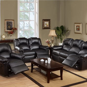 Poundex F6672-71 2 pc halifax ii collection black bonded leather upholstery sofa and love seat set with recliner ends