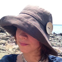 Organic Brown Wide Brimmed Women Sun Hat, Summer Hat, Beach Hat with big  coconut button  Large Size