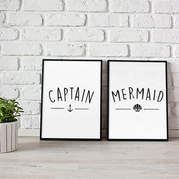 Captain Print, Mermaid Print, Bedroom Decor, Wall Art, Wall Decor, Minimal Print, Couple Print, Fashion Print, Set Of 2 Bedroom Prints