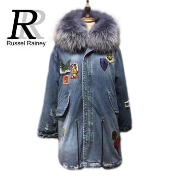 New Real Fox Fur Lining Long Casual Denim Parkas Women Winter Genuine Raccoon Fur Collar Hooded Coat Woman Warm Jacket Female