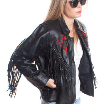Vintage 1970s Black Leather Jacket Fringe Red Rose Biker MOTO Lace-Up Gypsy Festival Coat