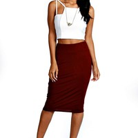 Maddie Jersey Midi Length Tube Skirt