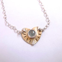 Aquamarine heart necklace   Triangles   Brass and silver   Leaf   Modern love