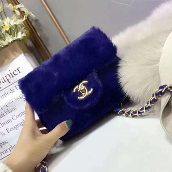CHANEL Popular Women Fashion Shopping Metal Chain Crossbody Shoulder Bag Blue I