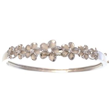 STERLING SILVER 925 HAWAIIAN 7 PLUMERIA FLOWER BANGLE BRACELET RHODIUM
