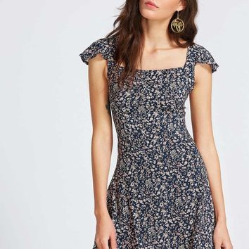 Criss Cross Calico Dress