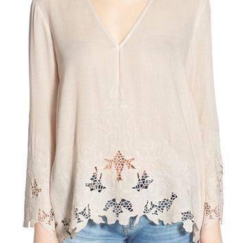 ASTR Embroidered Bell Sleeve Top | Nordstrom
